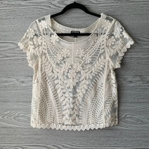 Express Cream Lace Short Sleeve Scoop Neck Top